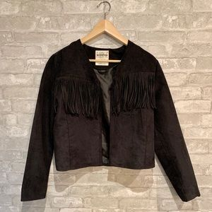 Faux suede fringy blazer vest by Love Destroyed